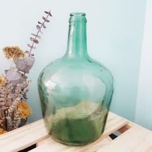 Vase Dame Jeanne bleu-vert 32 x 19 cm - Bonbonne Dame Jeanne Paris
