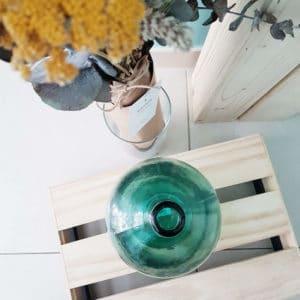 Vase Dame Jeanne bleu-vert 26 x 13 cm - Bonbonne Dame Jeanne Paris