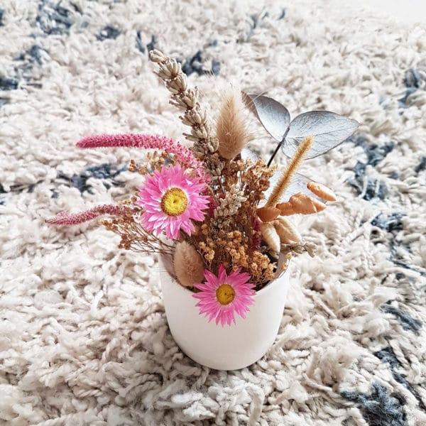 Petit pot de fleurs séchées Lavandin x Acroclinium