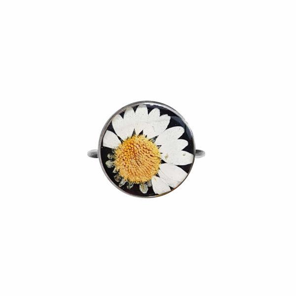 Bague fleurie JANA - Marguerite - Bague fleurs séchées PARIS