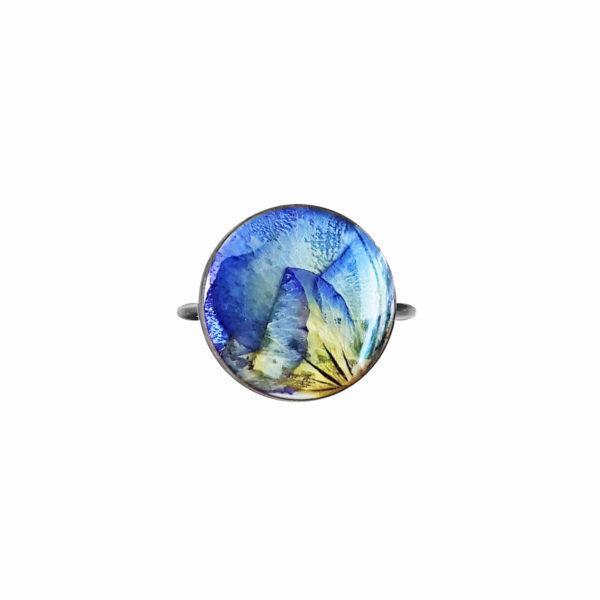 Bague fleurie JANA - Pensées bleu clair - Bague acier inoxydable fleurs
