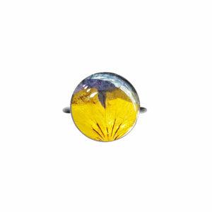 Bague fleurie JANA - Pensée jaune / violette - Bague fleurs séchées