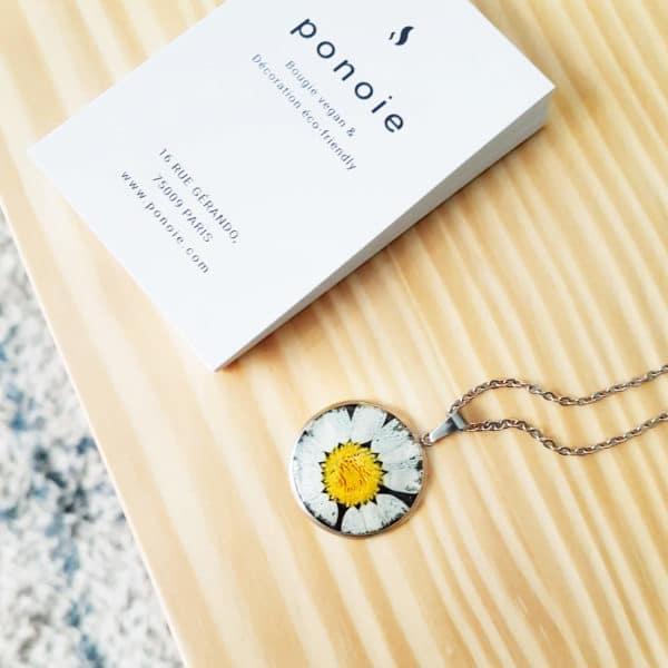 Collier fleuri NINA - Marguerite - Bijoux fleurs naturelles 100% fait-main