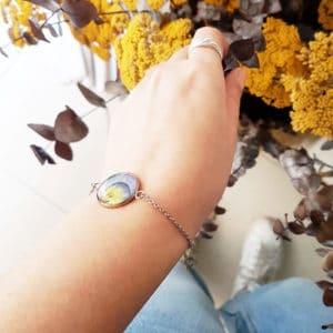 Bracelet fleuri ERYK - Pensée bleu clair - Bijoux fleuris 100% friendly