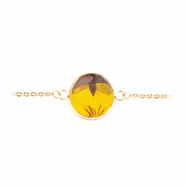 Bracelet fleuri ERYK - Pensée jaune / violette - Bijoux fleurs séchées