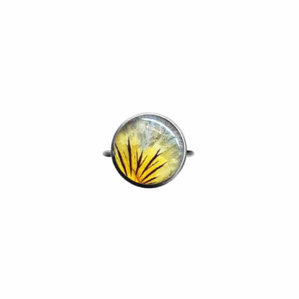 Bague fleurie JANA (S) - Pensée jaune / violette - Bague fleurs séchées