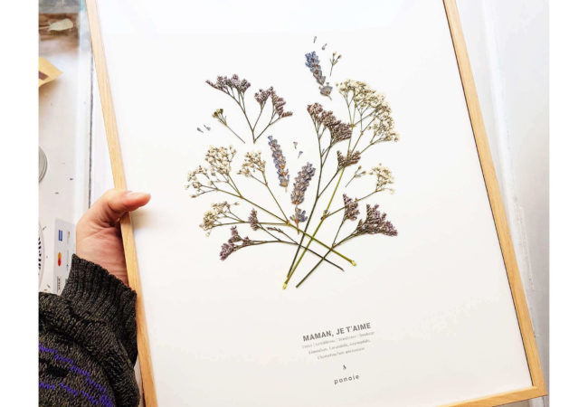 Herbier Fleuri #MAMAN JE T'AIME 30 x 40 cm - Cadeau fête des mères