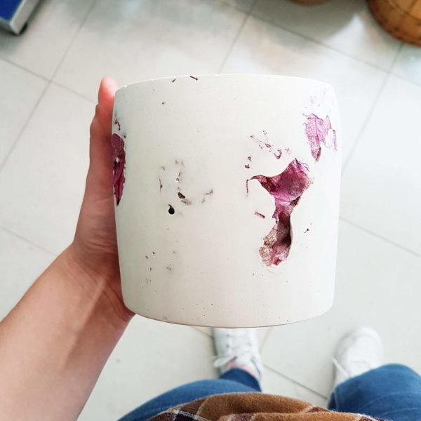 Pot en roche XL Fleurs de Bougainvilliers - Photophore pour bougie bio