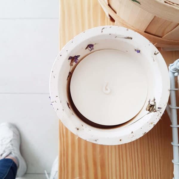 Pot en roche XL Fleurs de Statice - Photophore pour bougie bio