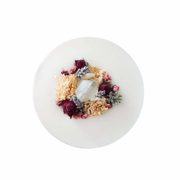 Couronne de cire - Cristal de roche et fleurs des champs - Grigri vegan