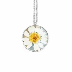 Collier fleuri TADEUSZ - Marguerite - Bijoux en résine et fleurs séchées