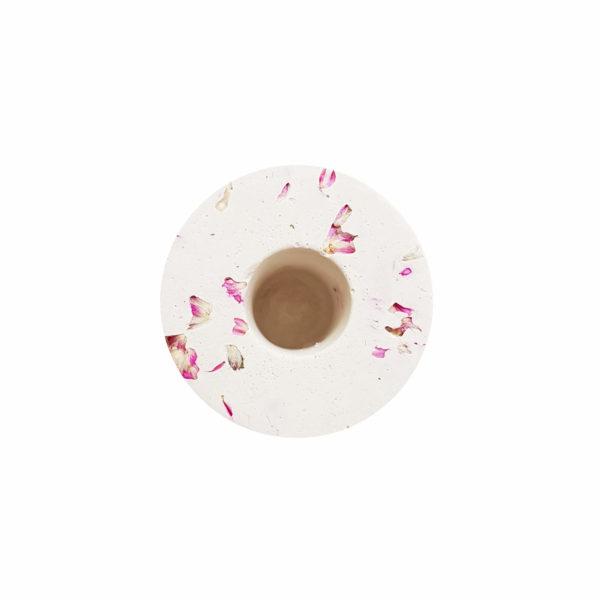 Support cierge - Roche minérale & fleurs d'amarantoïde - Cierge vegan
