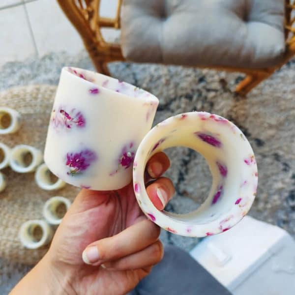 Photophore en cire et fleurs d'amarantoïde - Photophore florale FRANCE