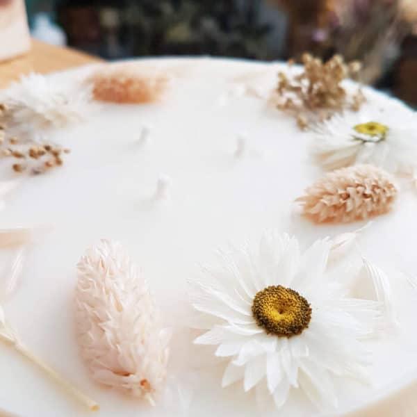 Bougie fleurie XXL 800 ml - QUEENIE - Bougie fleurie MARIAGE