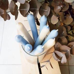 Cierge bleu en cire de colza - Cierge coloré vegan - Cierge cire naturelle