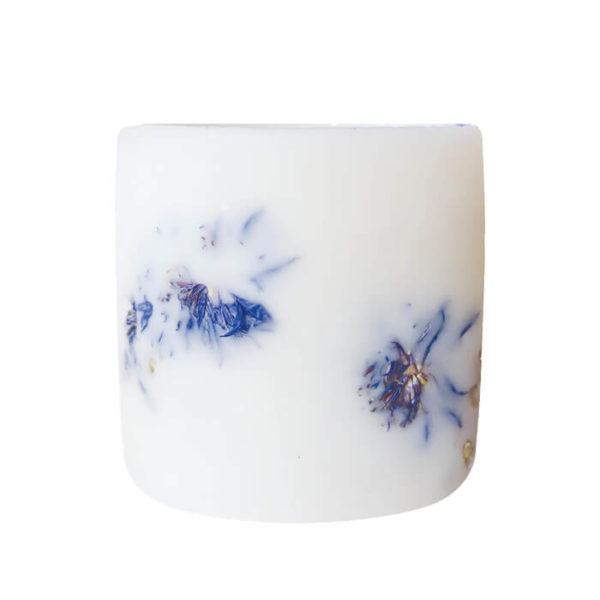 Photophore en cire et fleurs de Bleuet - Photophore 100% biodégradable