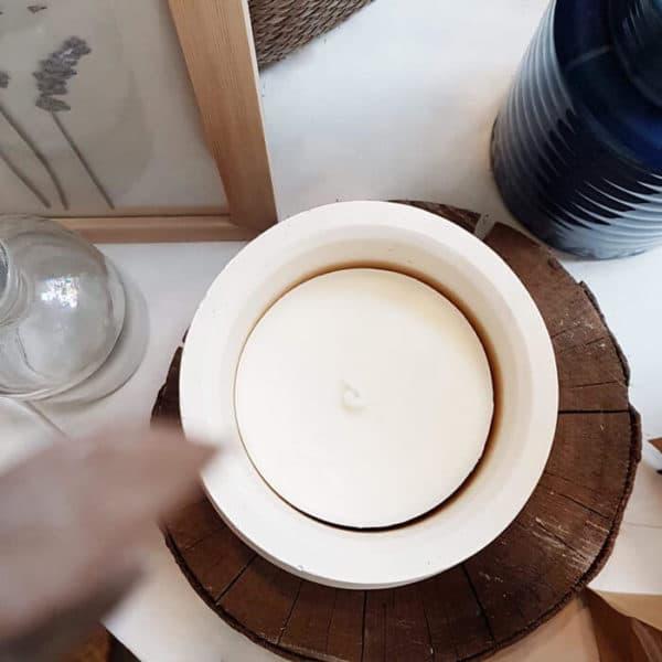 Pot en roche XL Blanc - Photophore pour bougie - Pot fleuri