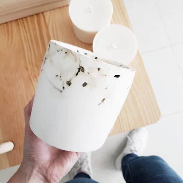 Pot en roche XL Marbrage Verveine - Photophore pour bougie bio
