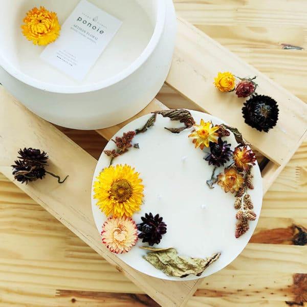 Bougie fleurie XXL 800 ml AUTUMN - Bougie fleurs séchées BOURGES