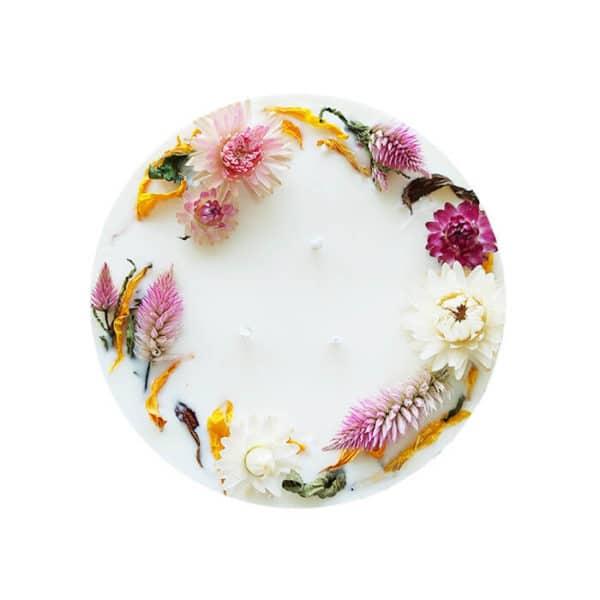 Bougie fleurie XXL 800 ml SPRING - Bougie fleurs séchées BOURGES