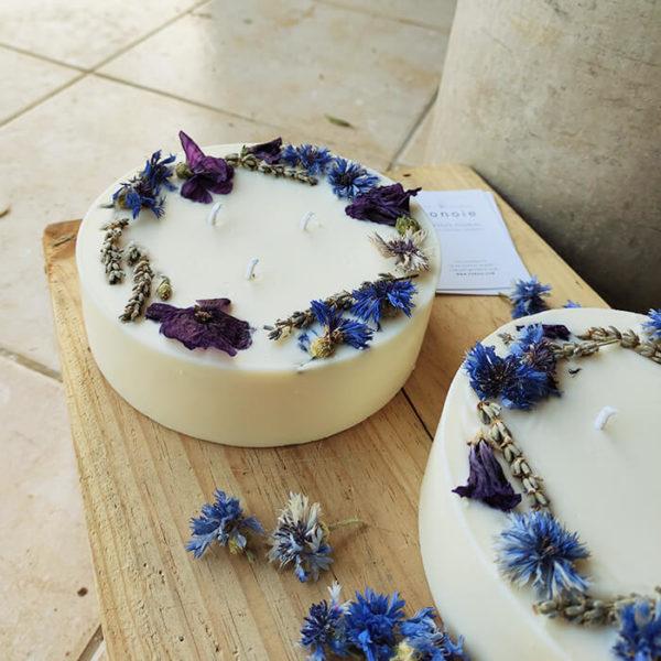 Bougie fleurie XXL 800 ml WINTER - Bougie fleurs séchées BOURGES